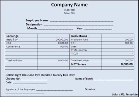 free editable salary slip template exle for monthly