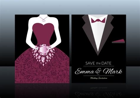 wedding scroll dress and tux card template free vector 246 free vector for