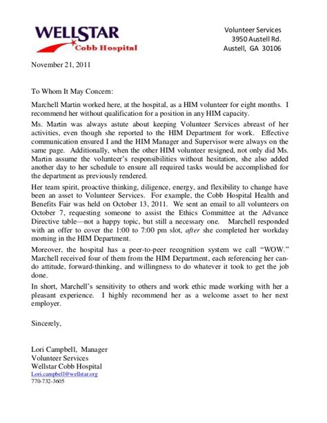 Recommendation Letter For Volunteer Reference Letter Wellstar