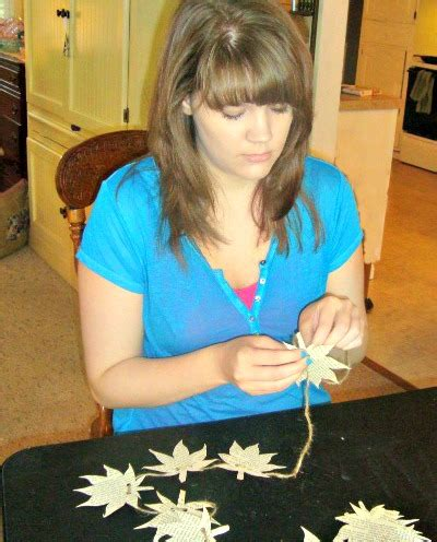 tying your misses and shagging book page leaf garland
