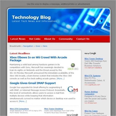 templates for blog website technology blog template free website templates in css