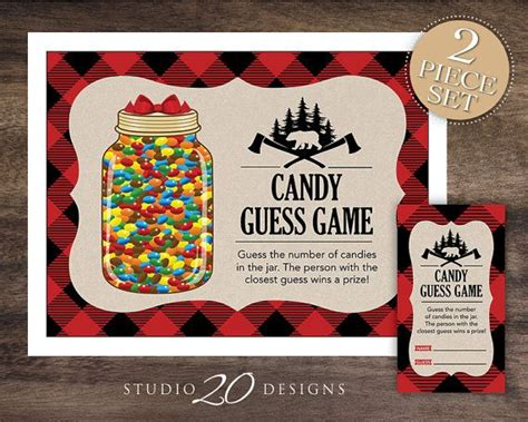 themes for guessing games instant download black and red buffalo plaid candy guess