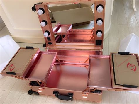 the makeup light pro discount rose golden studio wheeled trolley makeup box organizer