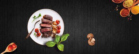 steak snack top view geometric black banner steak