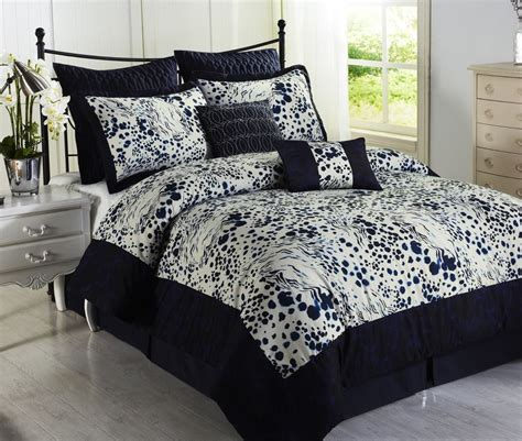 splash blue white 8pc comforter set print microfiber navy