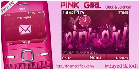 nokia girl themes com pink girl with clock and calendar nokia c3 theme