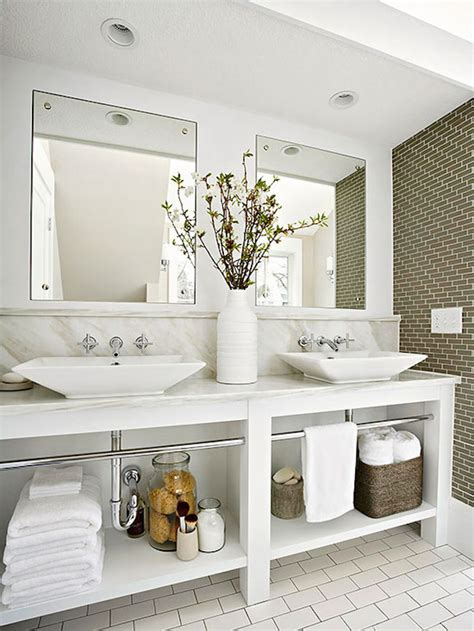 Open Bathroom Shelving Open Storage Vanity Makes This Bathroom Feel More Spacious Decoist