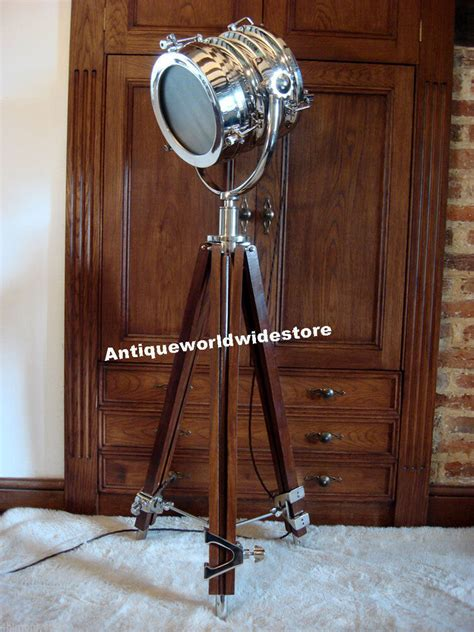 hollywood vintage studio floor lamp searchlight spot light  tripod stand ebay