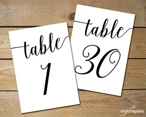 how to make table number cards instant printable table numbers 1 30 black