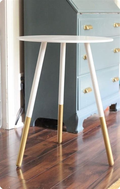 diy painted table legs paint dipped side table gold colorblock diy this would look awesome on my ikea end tables