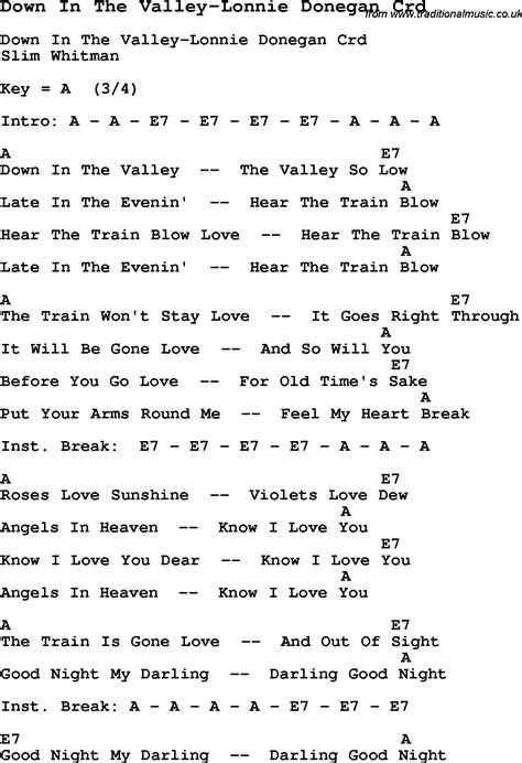 of velly lyrics skiffle lyrics for in the valley lonnie donegan with