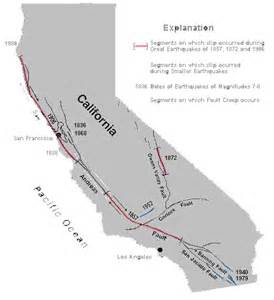 map of san andreas fault line in california california map