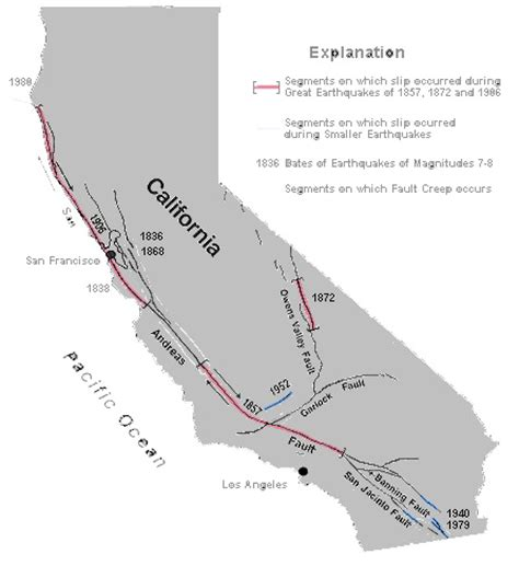 san andreas fault line map san andreas fault line map california california map