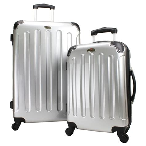 Swiss Case 4 Wheel 2Pc Hard Suitcase Set Silver   The Sports HQ