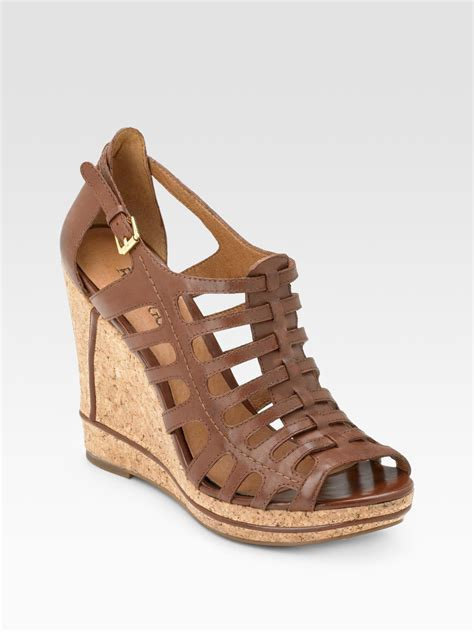 gladiator wedge sandals rosegold gladiator cork wedge sandals in brown cognac lyst