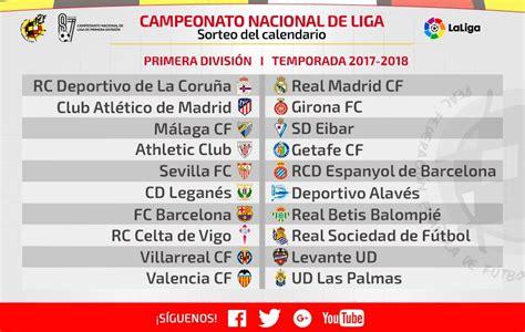 Calendario La Liga 2017 Calendario De La Liga 2017 2018 Futbol De Primera