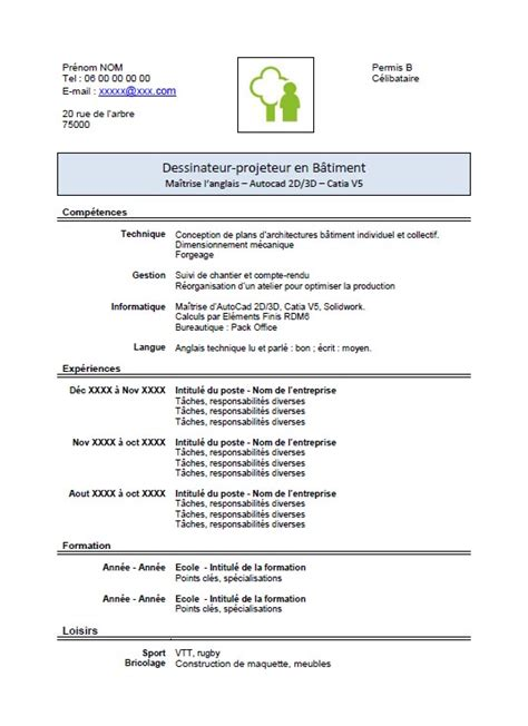 Cv Modele Doc by Exemple De Cv Doc Modele Simple Cv Jaoloron