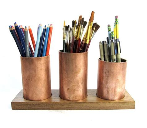 copper desk accessories desk accessory office decor recycled copper woodworking pencil an