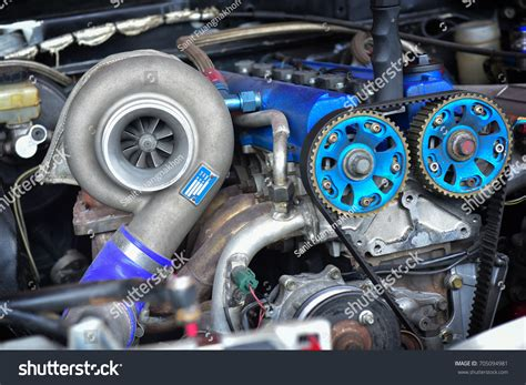 stock turbo cars turbo charger installed on car engine stock photo