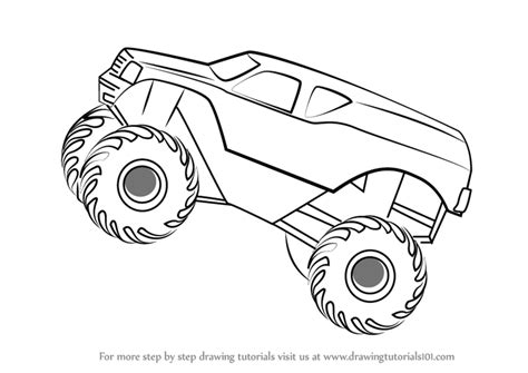 monster trucks drawings learn how to draw monstertruck jump trucks step by step