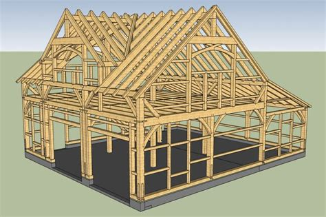 rendering  carriage barn timber frame  reverse