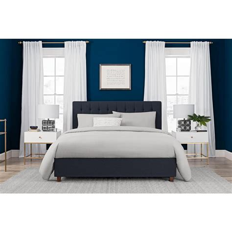 navy blue bed frame dhp emily blue upholstered linen queen size bed frame