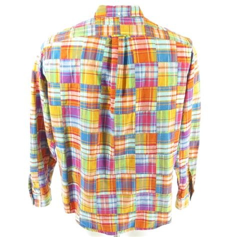 ralph summer patchwork shirt mens l madras by the