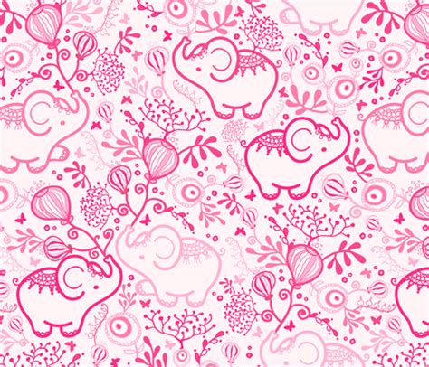 pink elephant wallpaper pink elephants with bouquets fabric by oksancia on