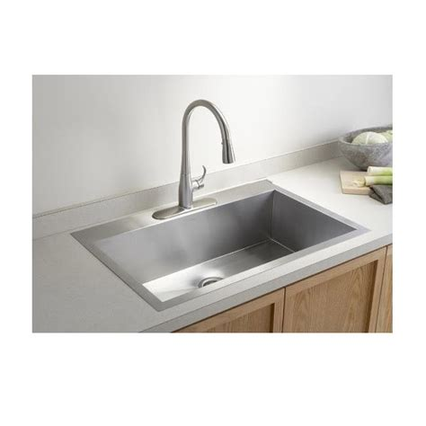 Top Mount Kitchen Sinks 33 Inch Top Mount Drop In Stainless Steel Single Bowl Kitchen Sink Zero Radius Design