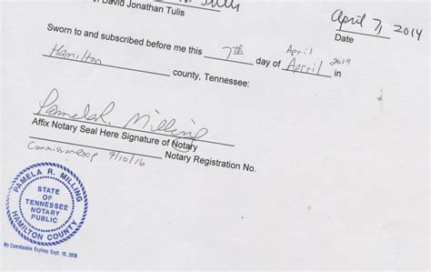 Notary Signature Line Template