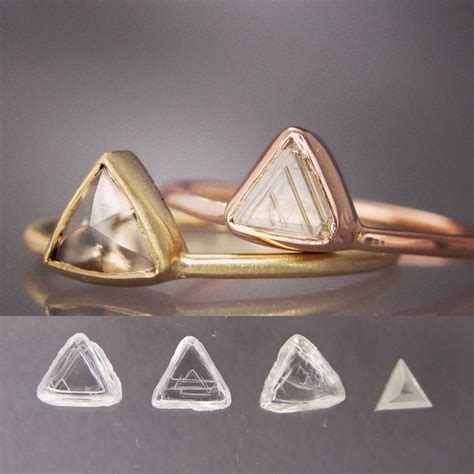custom triangle gold engagement ring by