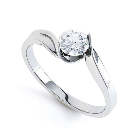 tension set twist solitaire engagement ring