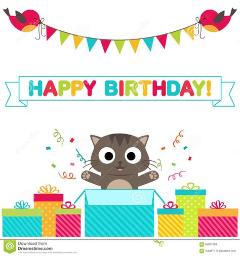 cat card template birthday card stock vector image 56901993