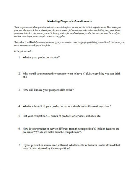 7 marketing research questionnaire exles sles