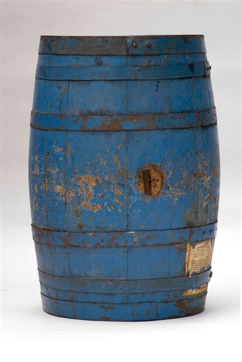 original blue paint antique wooden advertising barrel