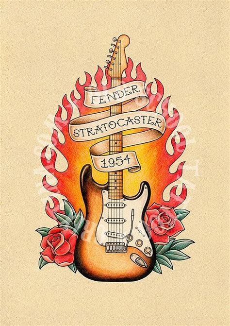 old school electric tattoo fender stratocaster guitar school print