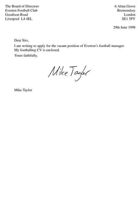 application letter vacant position sle how i nearly became everton manager 1998 the
