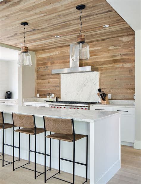 wood planked kitchen backsplash mountainmodernlife