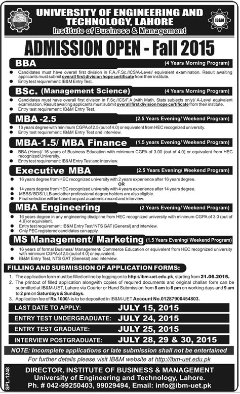 Of Mississippi Mba Requirements by Uet Lahore Admissions Open 2015 For Bba Mba Bsc Ms