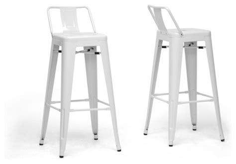 bar stools with back support baxton studio french industrial modern bar stool in white