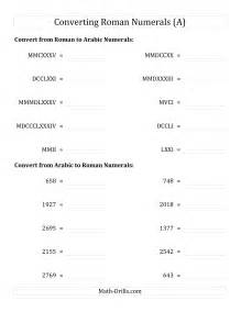 Flash Cards Division Printable Converting Compact Roman Numerals Up To Mmmim To Standard