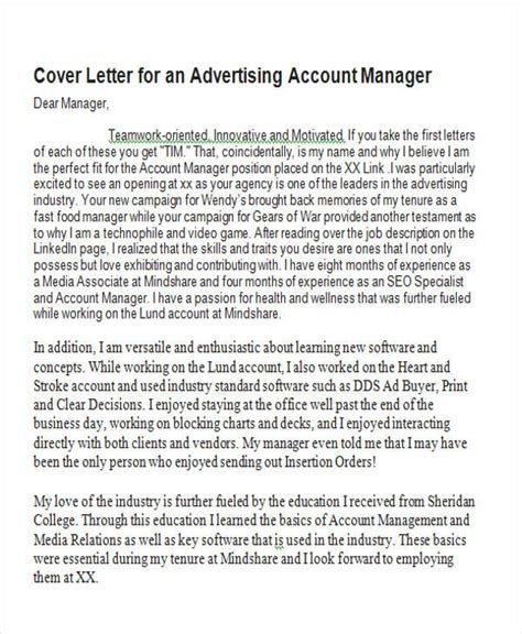 Covered Financial Institution Letter Account Manager Cover Letter 8 Exles In Word Pdf