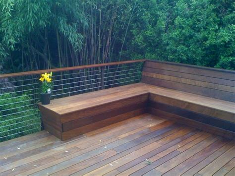 decking bench cable railing with benches 310 jpg deck pinterest