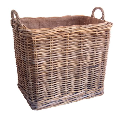 Lined Log Baskets For Fireplaces by Oblong Lined Wheeled Log Basket
