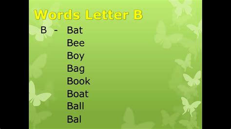 5 Letter Words That Start With B words start with letter b
