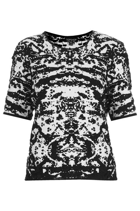 Olly And Suzi Tops At Topshop by Topshop Knitted Abstract Jacquard Top In Black Lyst