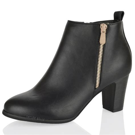 womens block high mid low heel zip ankle boots