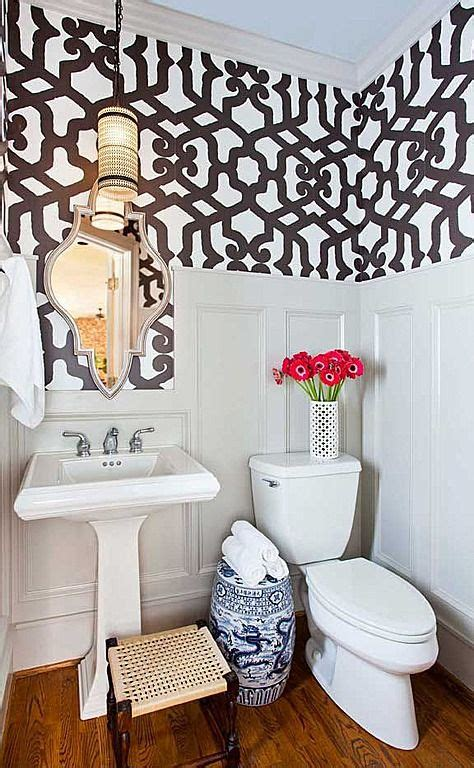 small bathroom wallpaper ideas small bathroom wainscoting and wallpaper diy small home
