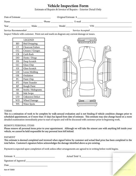 Courtesy Car Agreement Template vehicle walk around inspection form pictures to pin on