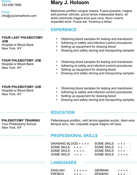download phlebotomy resume templates for free formtemplate